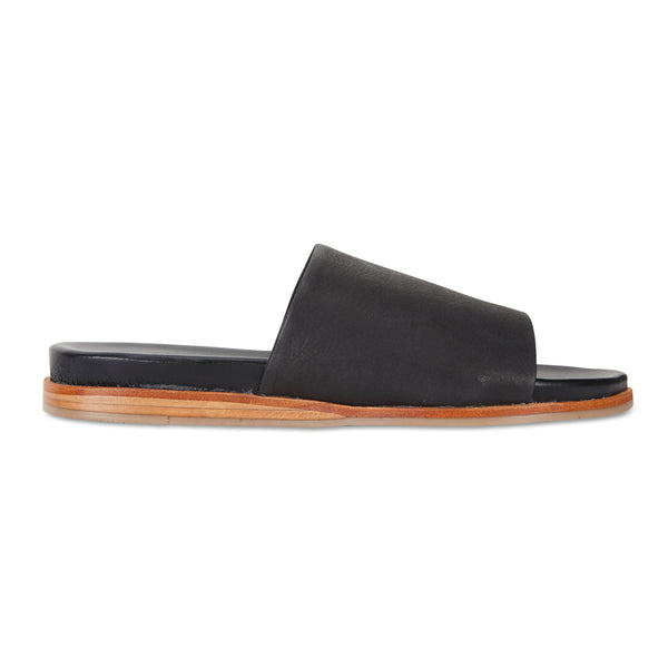 Cara black milled leather slides for women