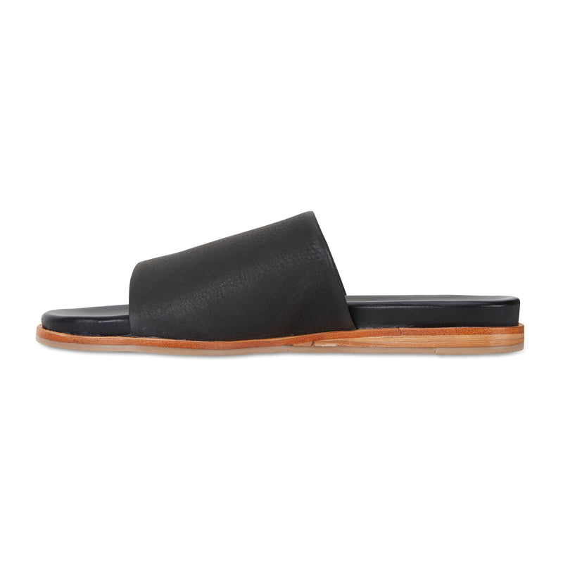 Cara black milled leather slides for women 3