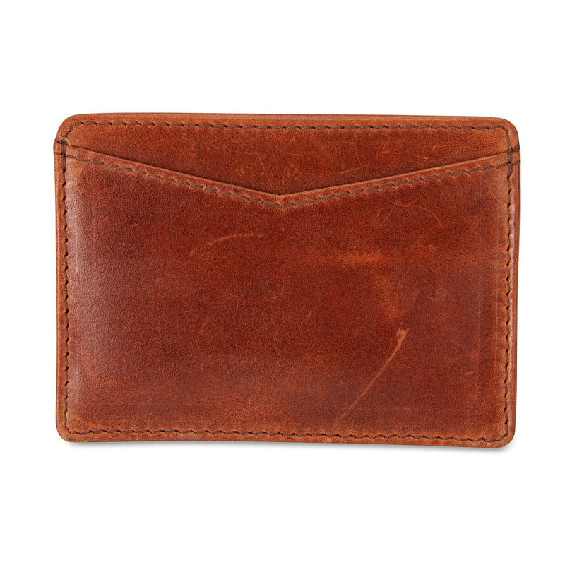 Credit card holder tan leather front