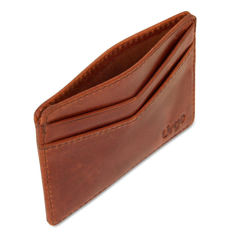 Credit card holder tan leather side