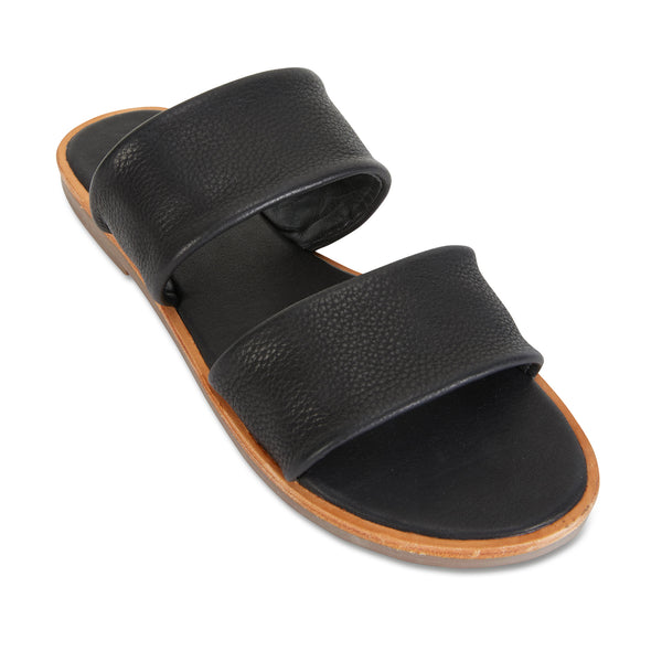 Chanelle black leather slides double banded for women 1