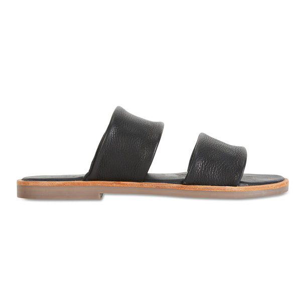 Chanelle black leather slides double banded for women