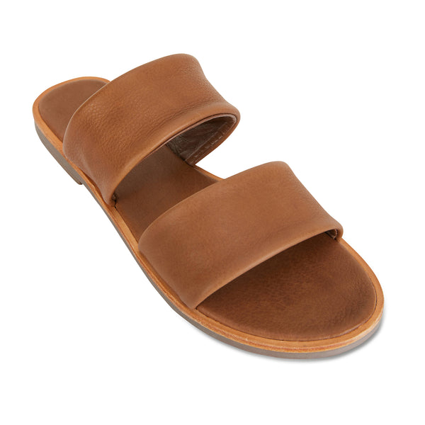 Chanelle cognac leather slides double banded for women 1