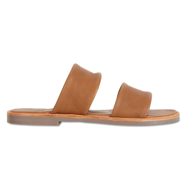 Chanelle cognac leather slides double banded for women