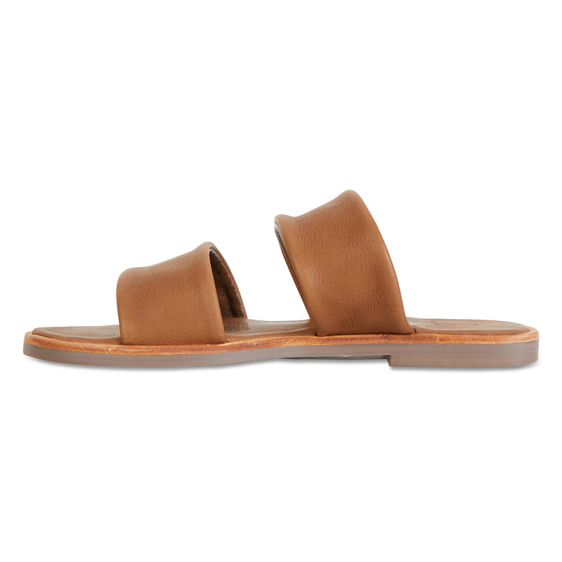 Chanelle cognac leather slides double banded for women 2