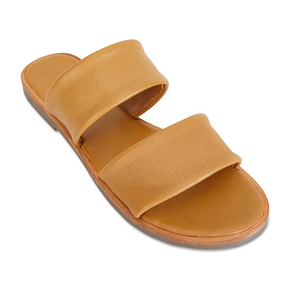 Chanelle mustard leather slides double banded for women 1