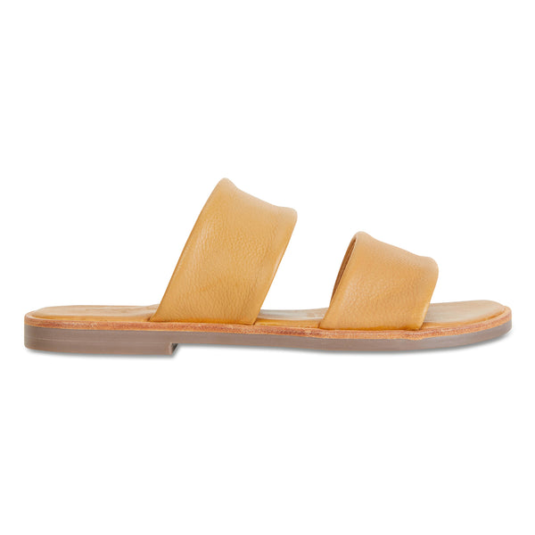 Chanelle mustard leather slides double banded for women