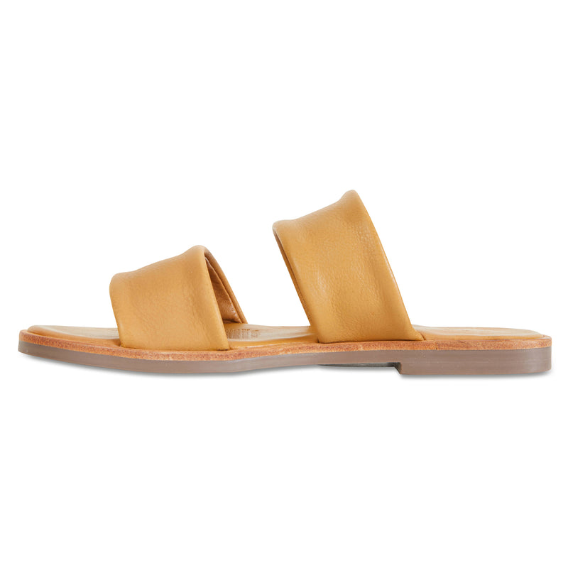 Chanelle mustard leather slides double banded for women 3