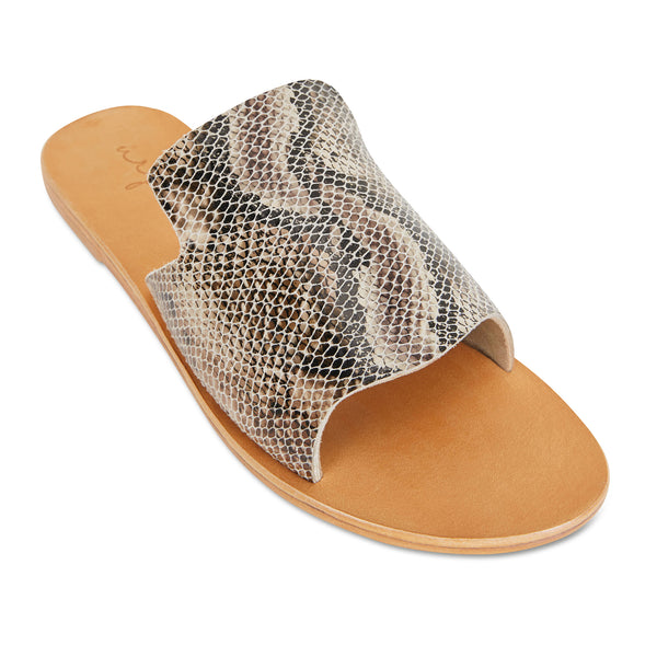 Clara natural snake leather slides for women 1