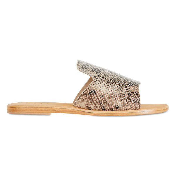 Clara natural snake leather slides for women