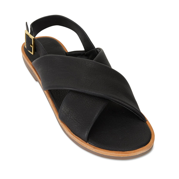 Colo black leather crossover sandals for women 1