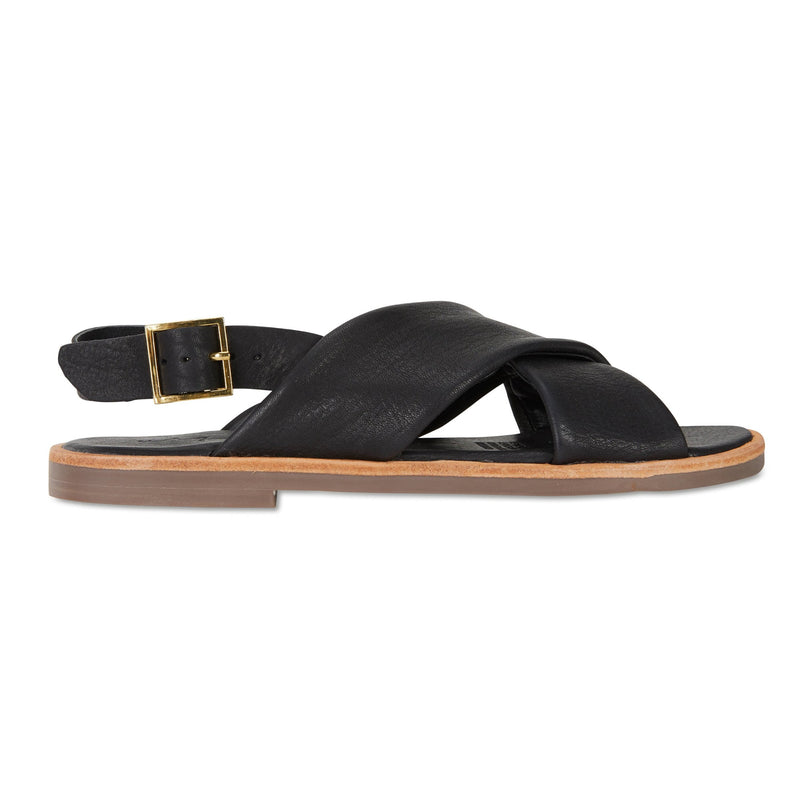 Colo black leather crossover sandals for women