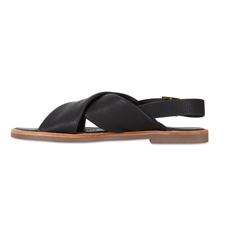 Colo black leather crossover sandals for women 2