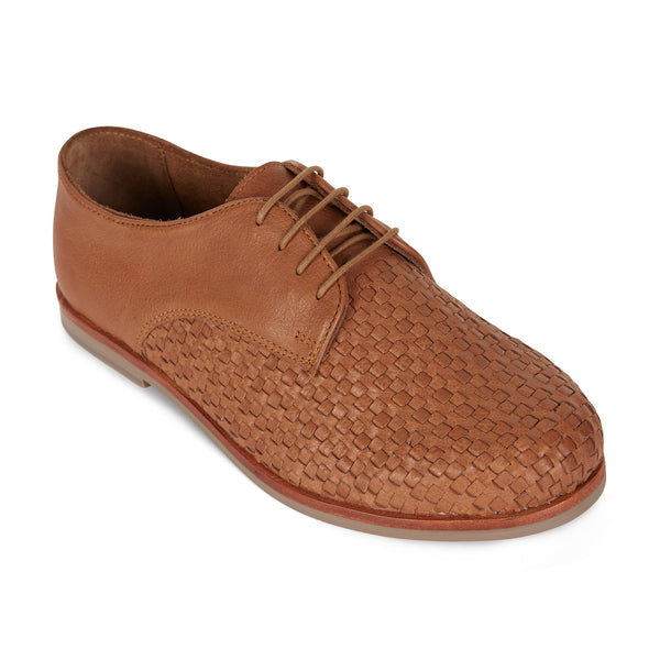 Dante cognac milled leather laceup shoes for men 1