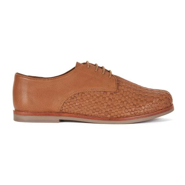 Dante cognac milled leather laceup shoes for men