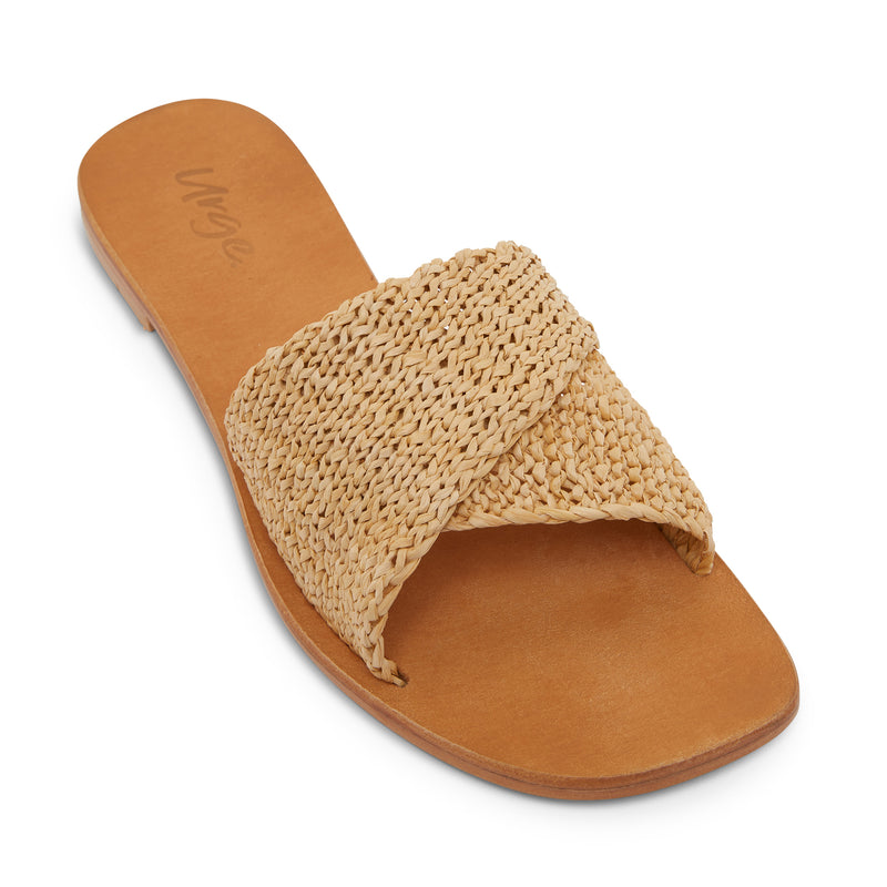 Delta natural raffia womens slides with a folded upper band 1