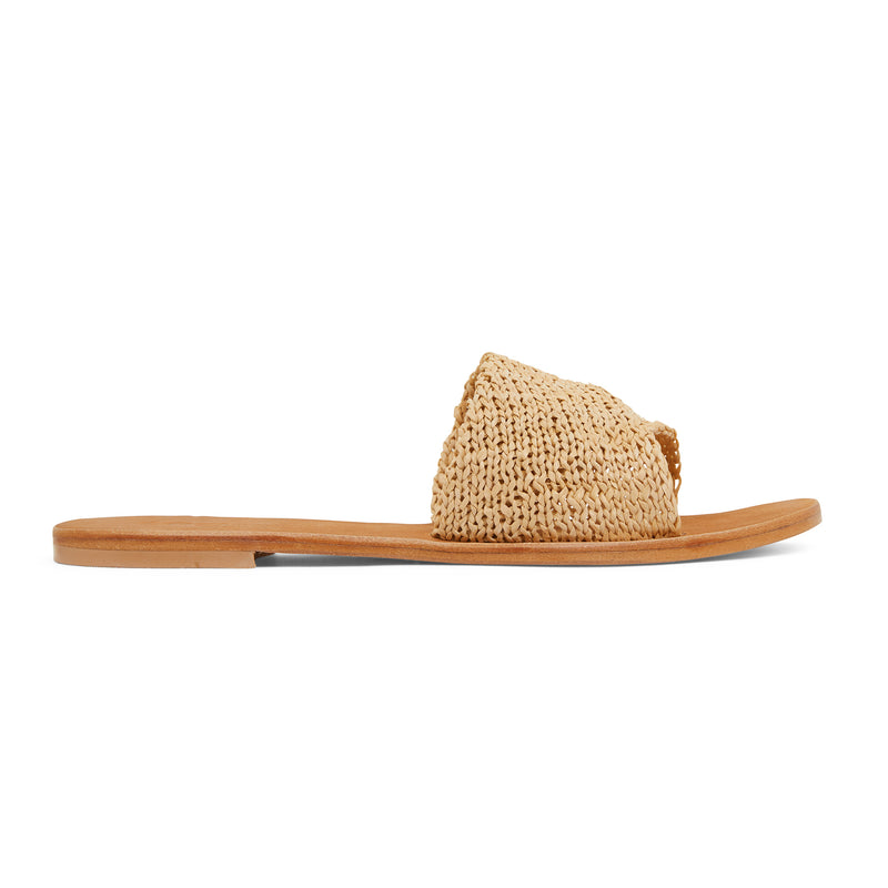 Delta natural raffia womens slides with a folded upper band