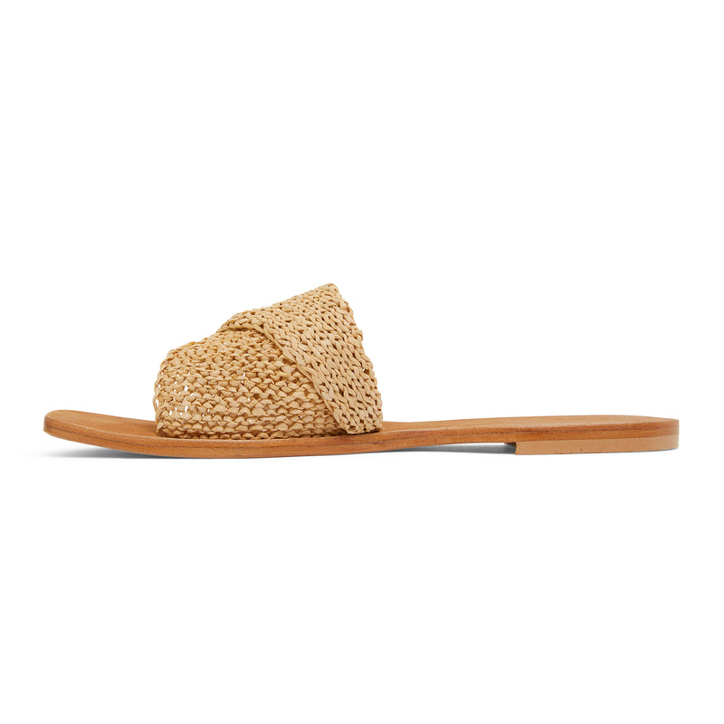 Delta natural raffia womens slides with a folded upper band 2