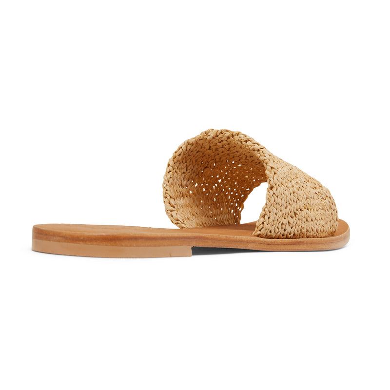 Delta natural raffia womens slides with a folded upper band 3