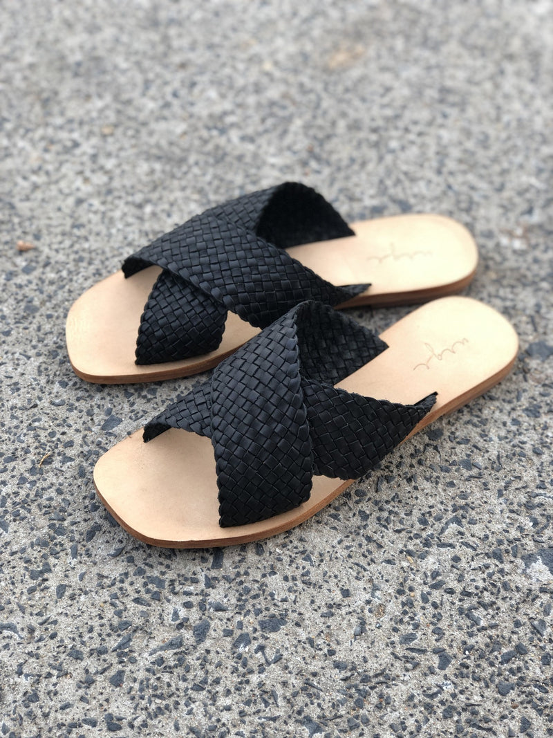 Ellie black leather woven crossover slides for women lifestyle