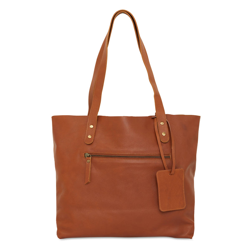 Esta Tote tan whiskey leather shopper