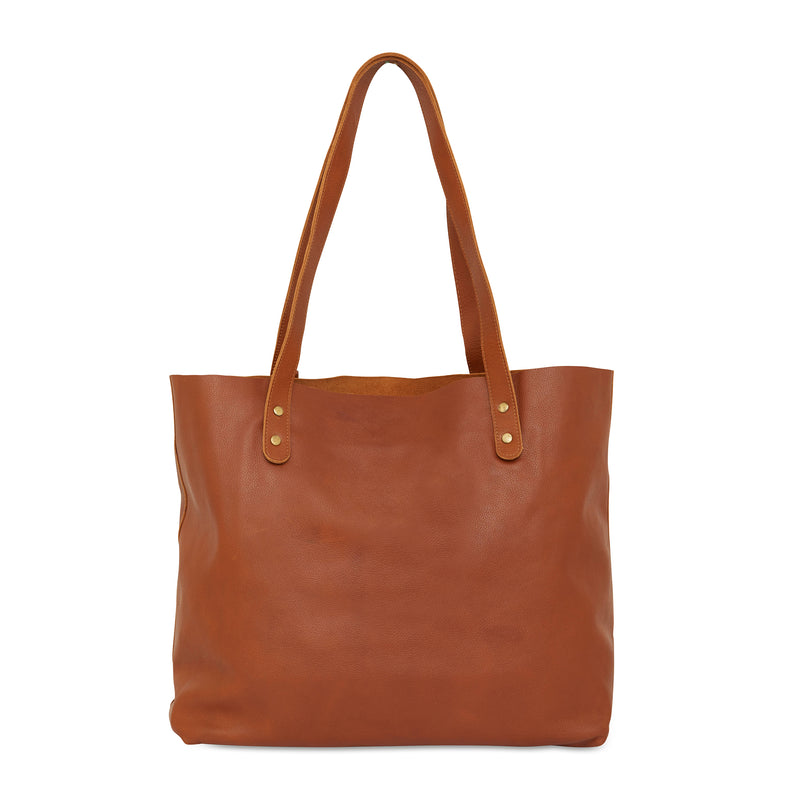 Esta Tote tan whiskey leather shopper 1