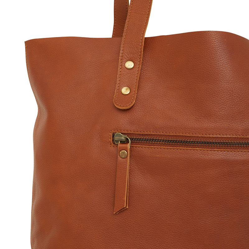 Esta Tote tan whiskey leather shopper 2
