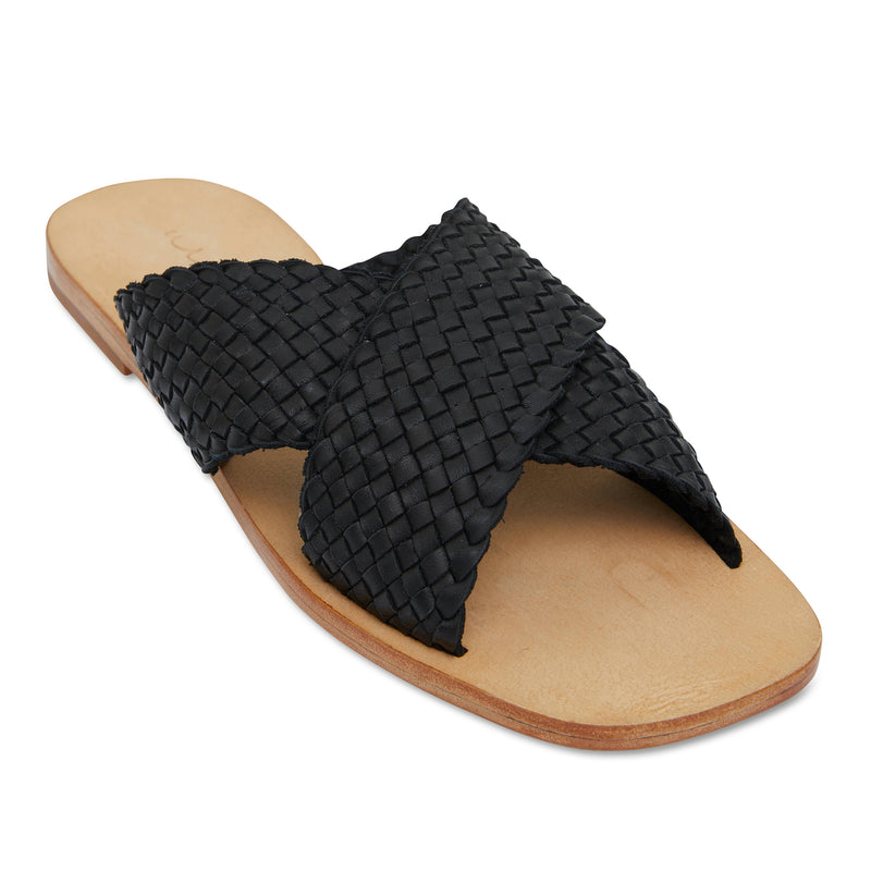 Ellie black leather woven crossover slides for women 1