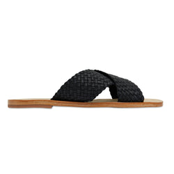 Ellie black leather woven crossover slides for women