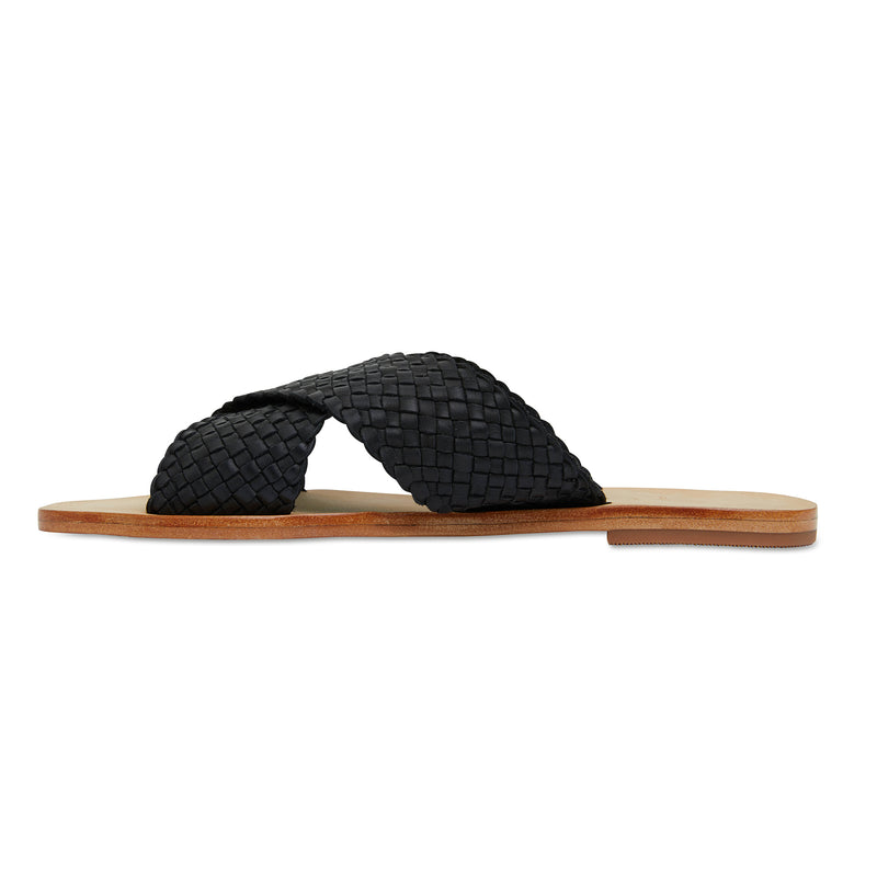 Ellie black leather woven crossover slides for women 4