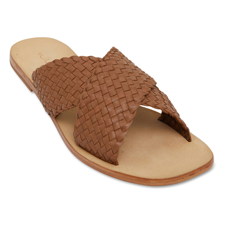 Ellie cognac leather woven crossover slides for women 1
