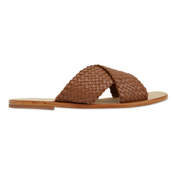 Ellie cognac leather woven crossover slides for women