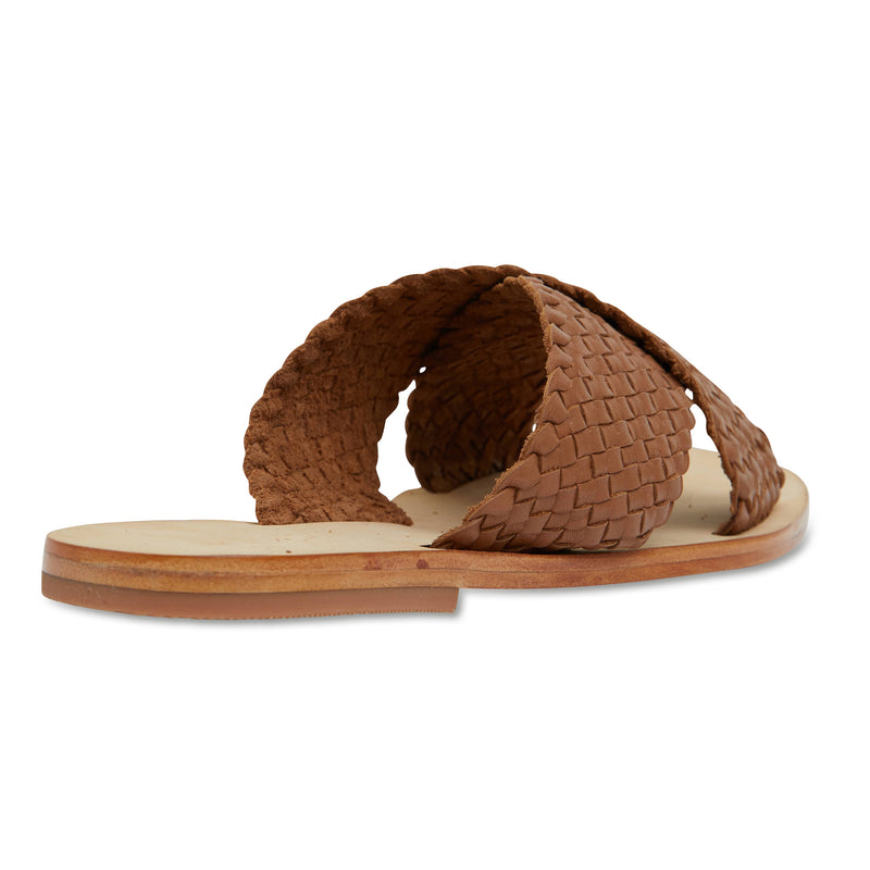Ellie cognac leather woven crossover slides for women 2