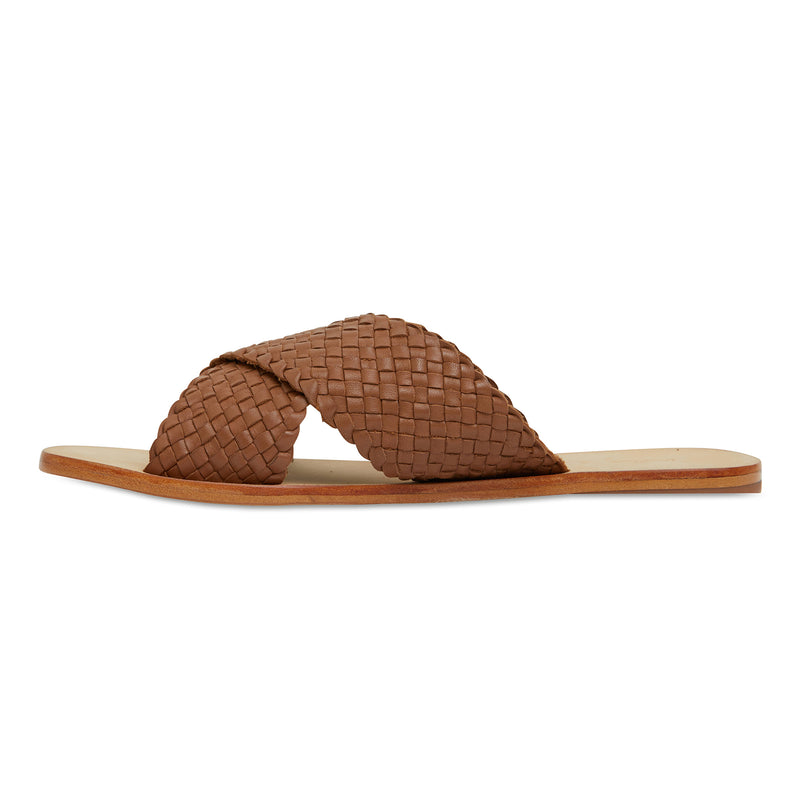Ellie cognac leather woven crossover slides for women 3