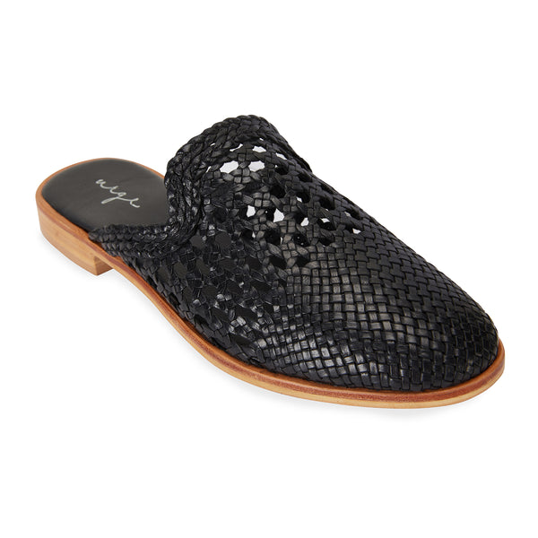 River black leather woven mules with detail for women 1