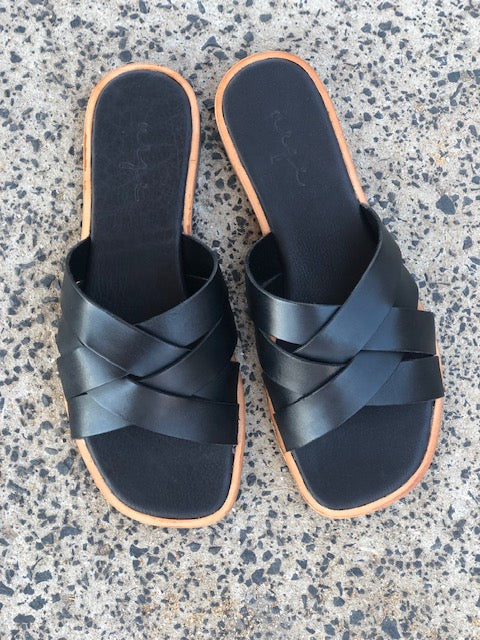 Grace black leather crossed over slides for women lifestyle