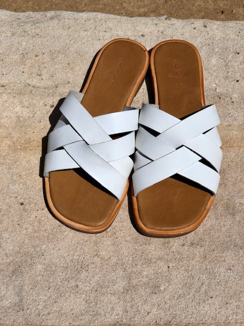 Grace black white  crossed over slides for women lifestyle