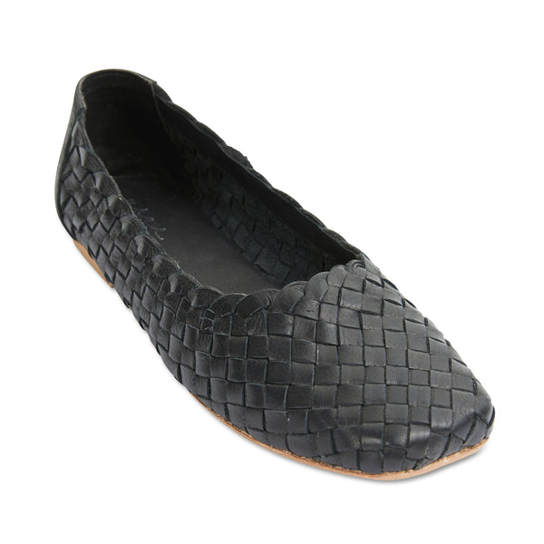 Gigi black leather woven womens flat shoes 1