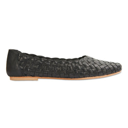 Gigi black leather woven womens flat shoes