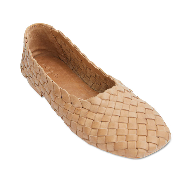 Gigi tan leather woven womens flat shoes 1