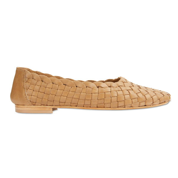 Gigi tan leather woven womens flat shoes