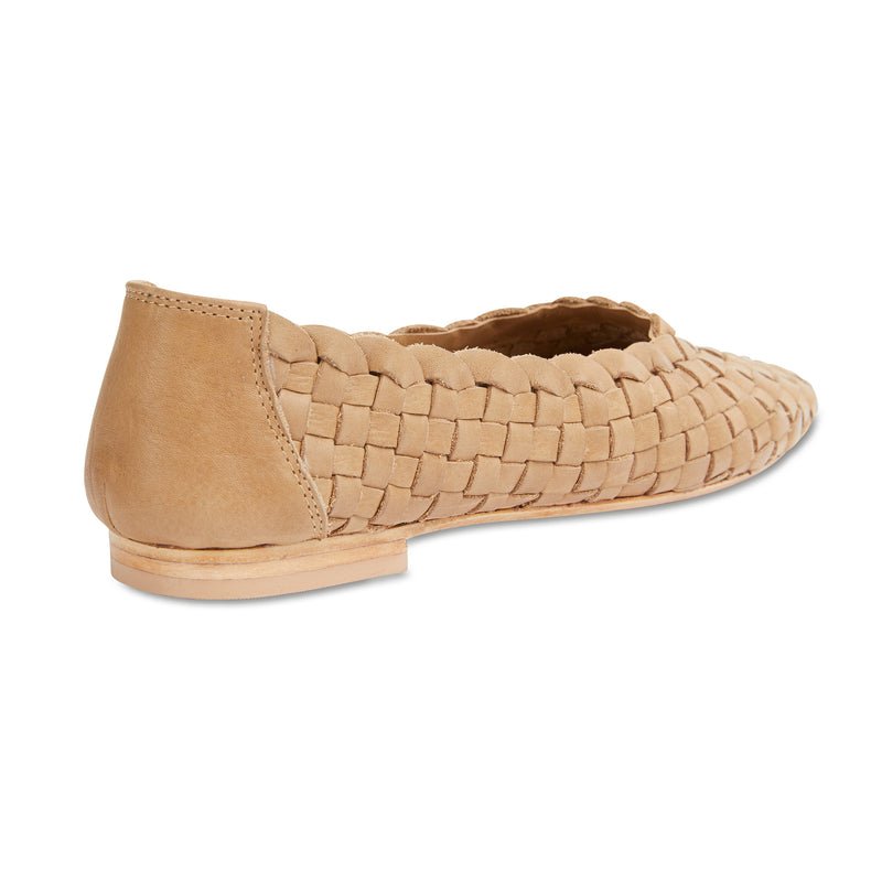 Gigi tan leather woven womens flat shoes 3