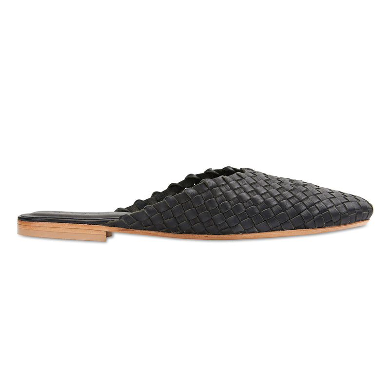 Gilli black milled woven leather mules for women