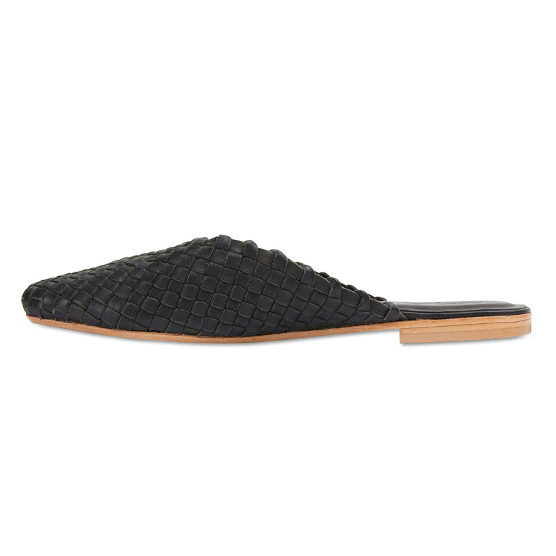 Gilli black milled woven leather mules for women 2