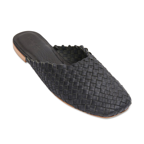 Gilli black milled woven leather mules for women 1