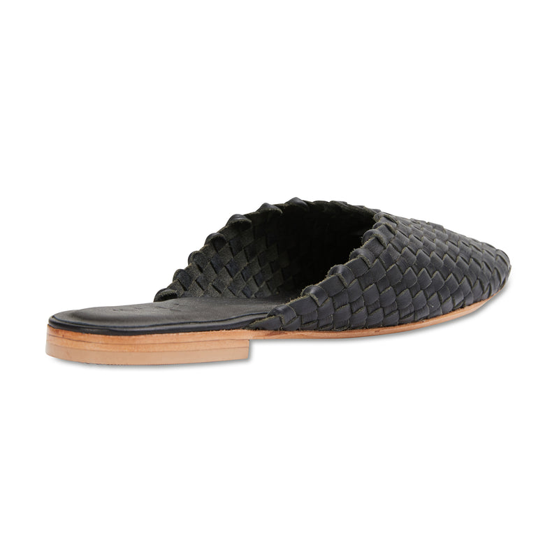 Gilli black milled woven leather mules for women 3