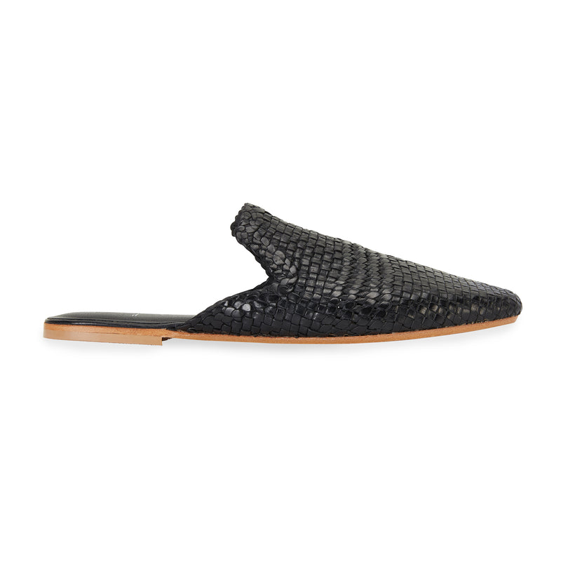 Ginza black leather woven mules for women