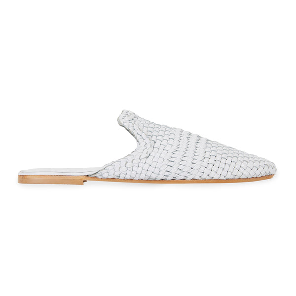 Ginza white leather woven mules for women