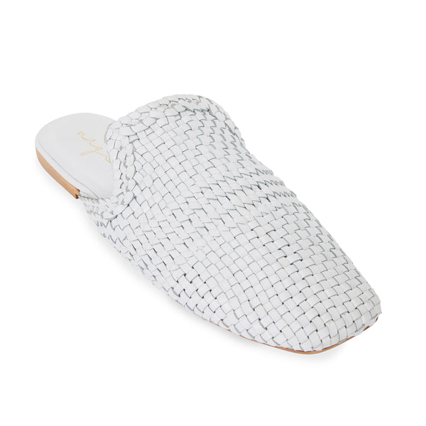Ginza white leather woven mules for women 1
