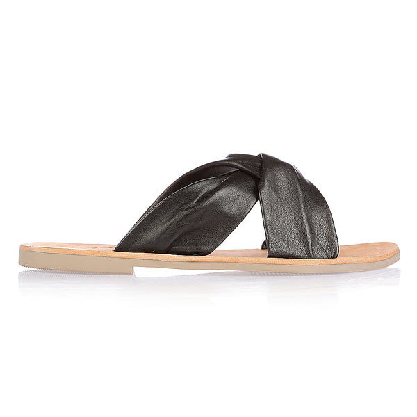 Goldie black leather crossover slide